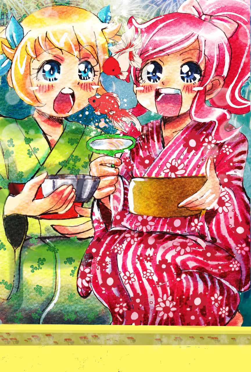 プリ☆チャン!金魚すくい Illust of おち☆よしかず(Occhiiy:オッチー☆) 女の子かわいい anime アニメキャラクター女の子 金魚すくい goldfish 花火 キラッとプリ☆チャン yukata