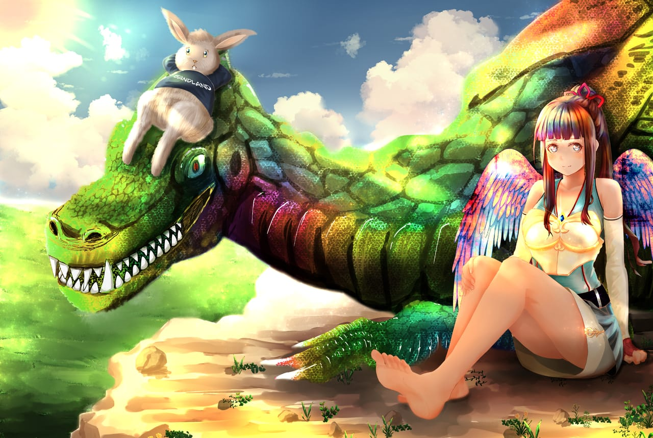 girl, bunny, and the dragoncoco Illust of sandland ART_street_Illustration_Book_Contest January2021_Contest:OC anime girl mangaart animegirl art Drawings