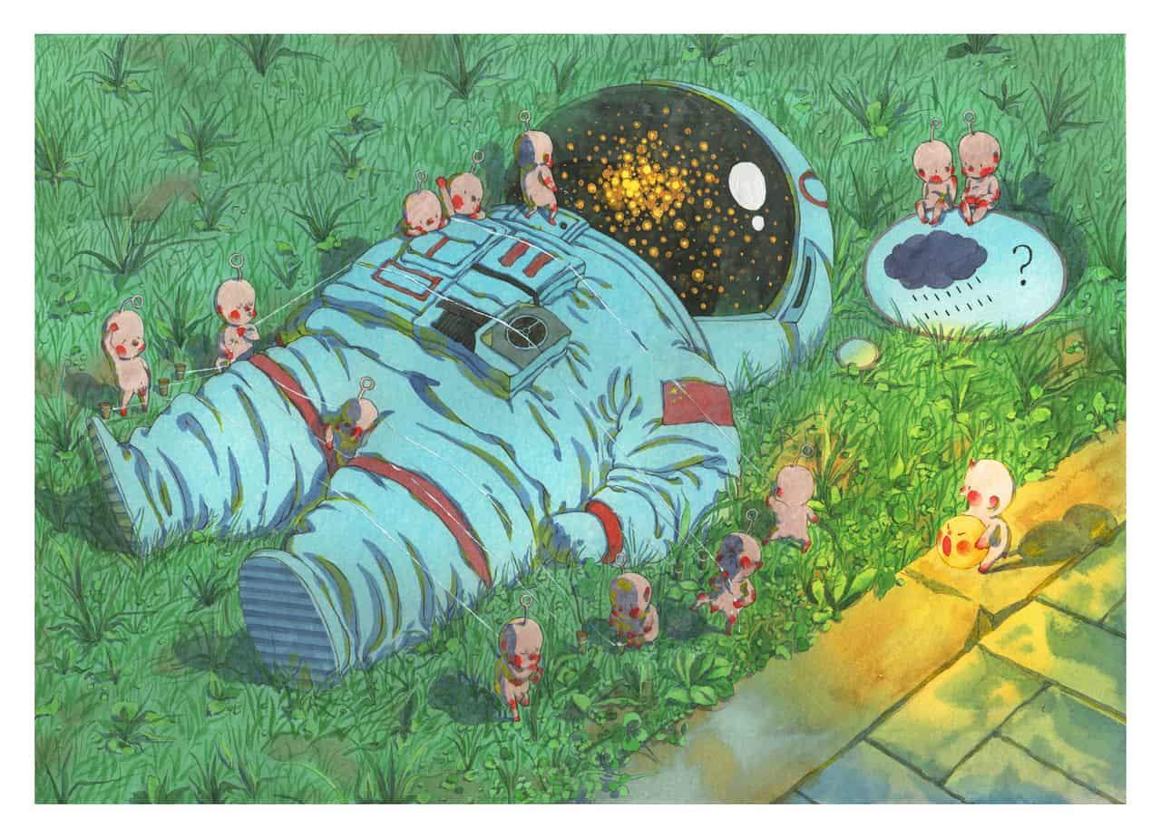 小人国 Illust of weiyiren illustration watercolor 発光 star space handdrawn