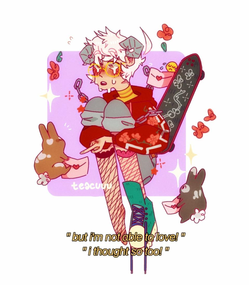 demon boi 😳😳🤚 Illust of pisspun medibangpaint anime MyArt animal boy cute character pink flower original