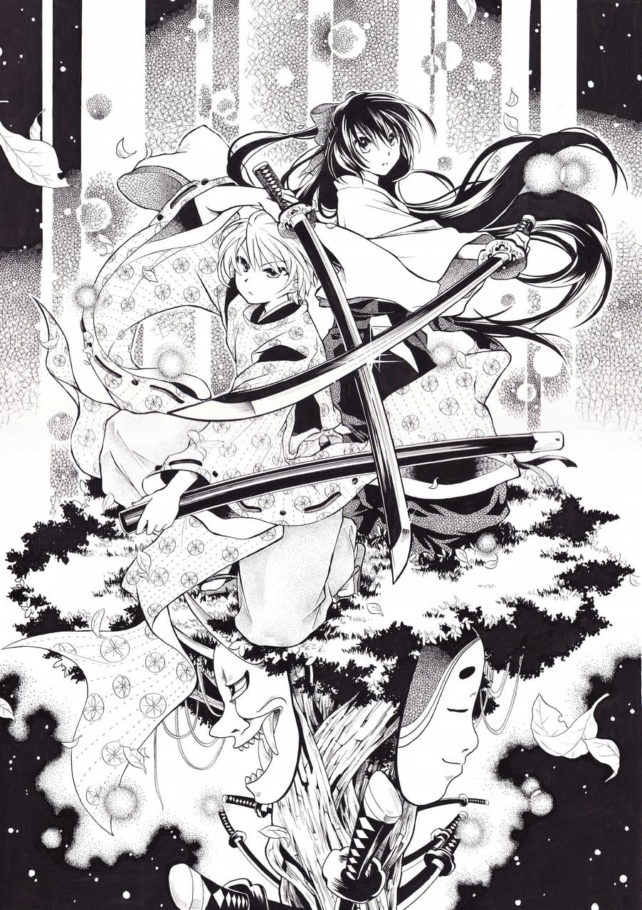 獄 Illust of 能勢ナツキ May2021_Monochrome アナログ Japanese_style oc 和風ファンタジー kimono AnalogDrawing original