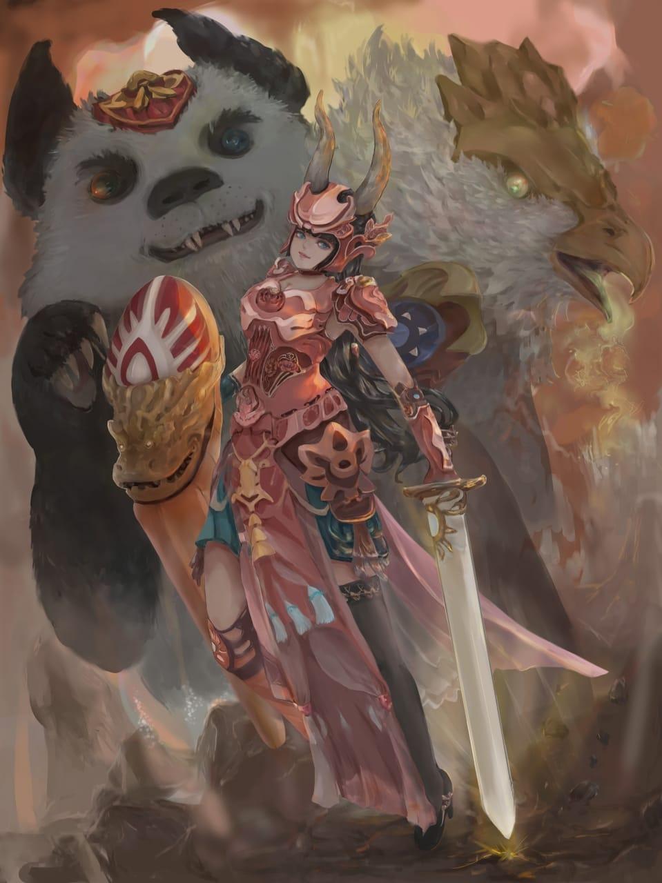 Guard Illust of Piano fantasycharacter sword dragongirl