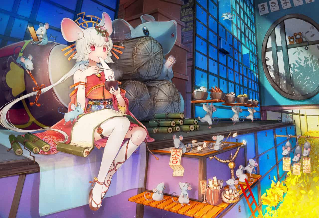 2020 Illust of 望月ガガンボ Jan.2020Contest girl 鼠年 ネズミ