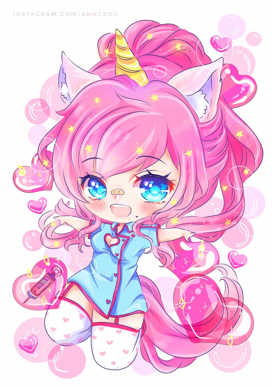 OC (Felicity W.) Illust of chibinana anime girl nurse kawaii chibi pink artcommission Unicorn oc