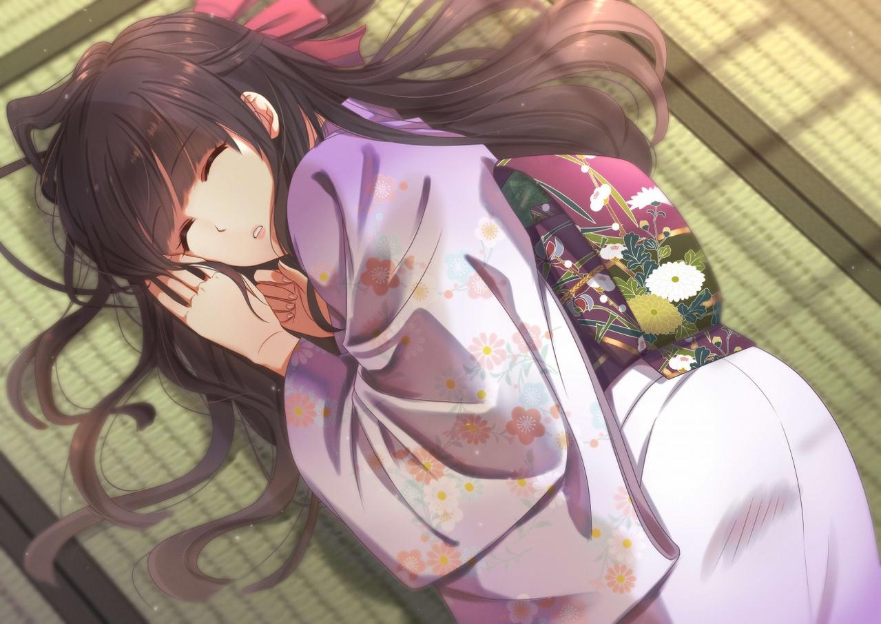 すやすや(差分あり) Illust of 瑠璃森 しき花(元izumi) girl 差分 Japanese_style 赤面 黒髪ロング original kimono 和服女子 寝顔 美少女