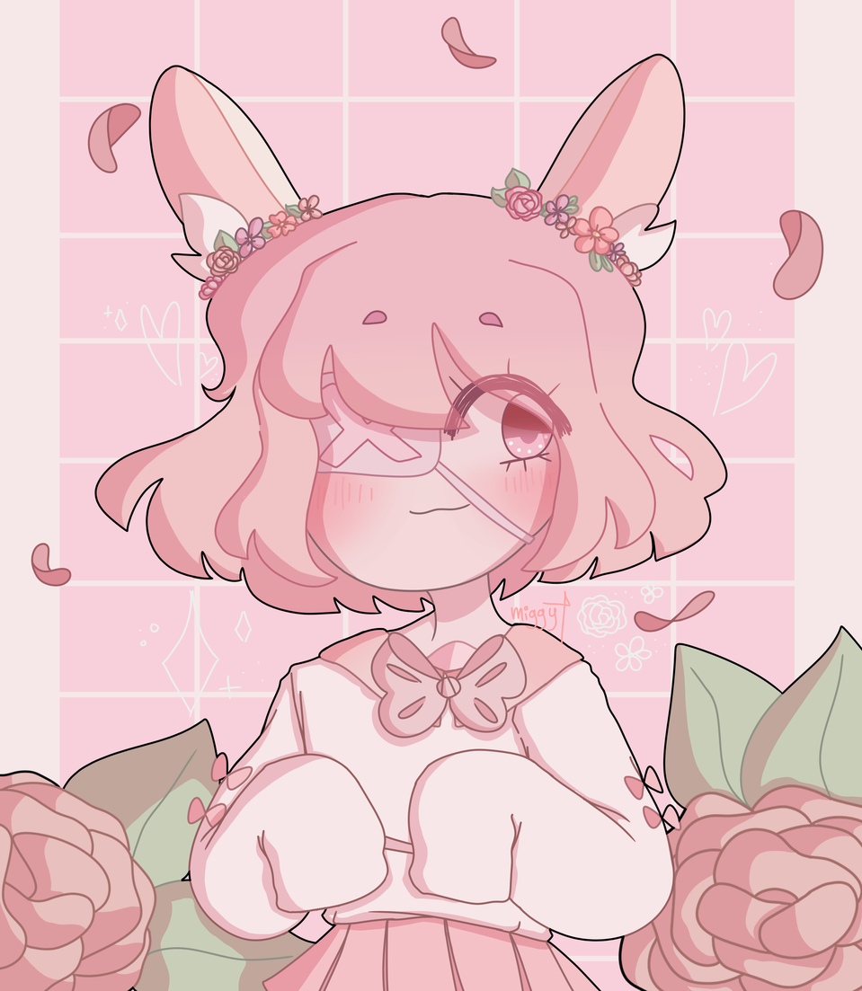art trade redraw for pErSon uvu Illust of miggy flowers girl softpastel pink