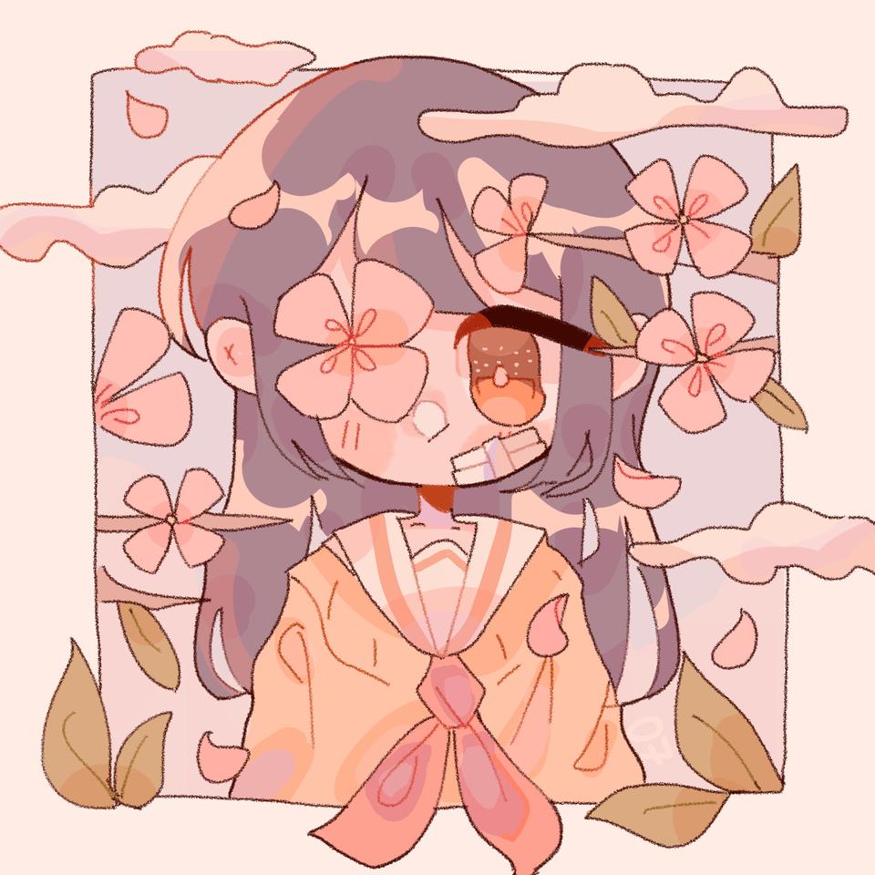 e Illust of pErSon medibangpaint girl sailor_uniform kawaii uniform flower