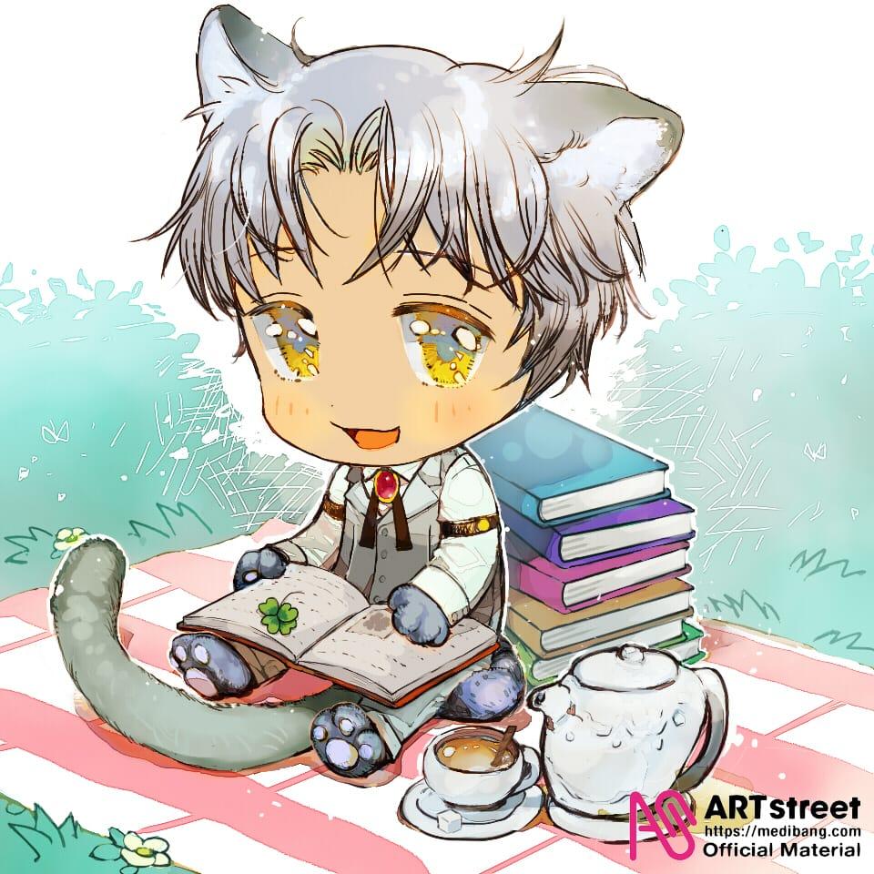 午後のひとやすみ Illust of Ixxan tracedrawing4th chibi illustration oc cat_ears furry