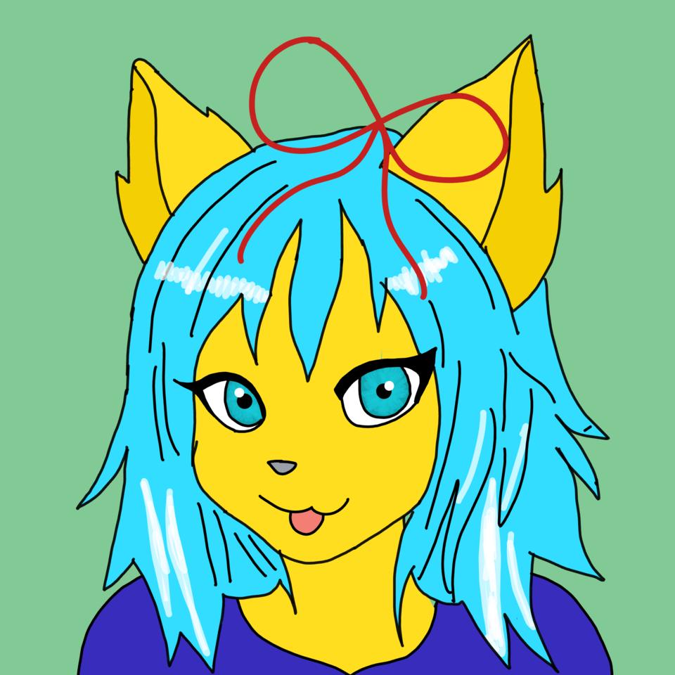 Art Trade With Naimah Taylor Illust of 🐻겨울 하늘색🐻T-27🆘 yellow animal notmyoc furry love cute NaimahTaylor95 arttrade oc