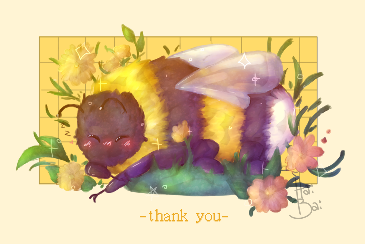 a huge thank you for 200+ followers!! Illust of Hai Bai yellow doodle bumblebee practice cute aesthetic