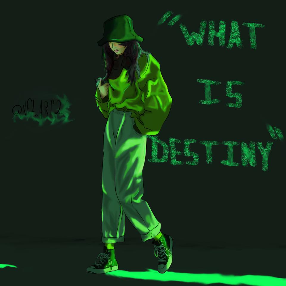 What is destiny Illust of NFA.ART2 digital illustration opencommissions green art destiny