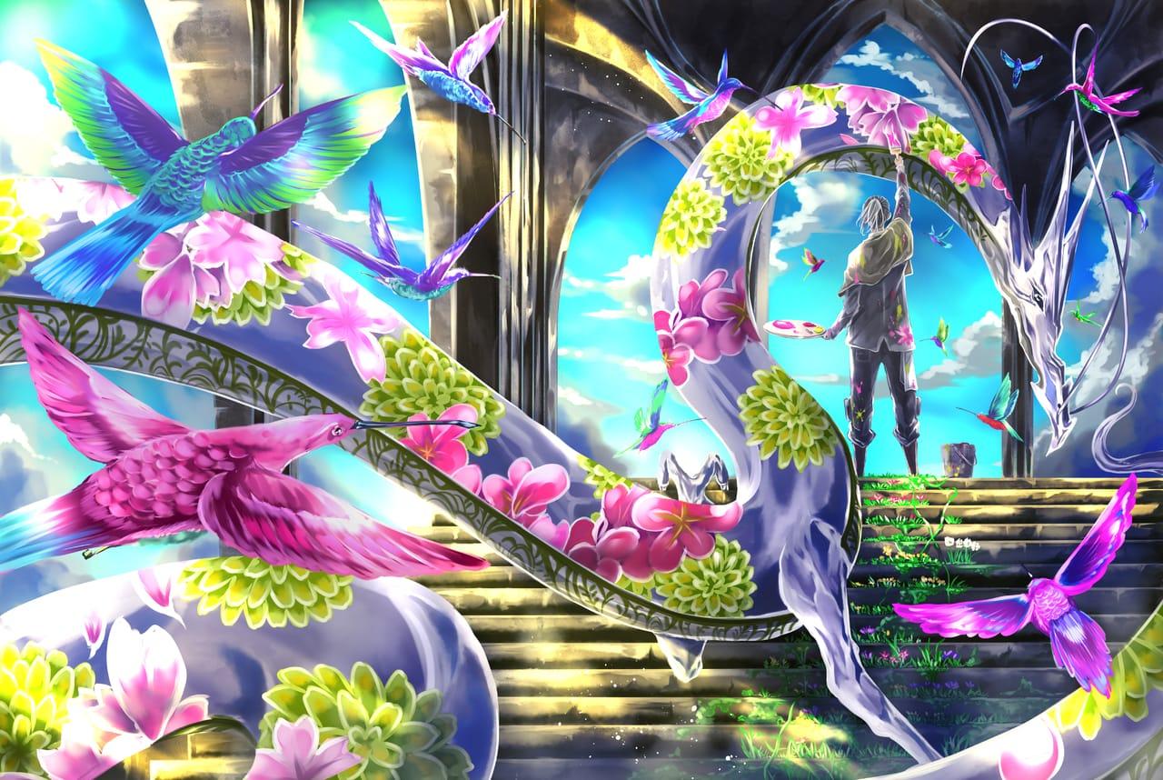春を待つ工房 / art studio  Illust of オニコロシ/生き方/帰り路 ART_street_Illustration_Book_Contest dragon 龍 original birds flower