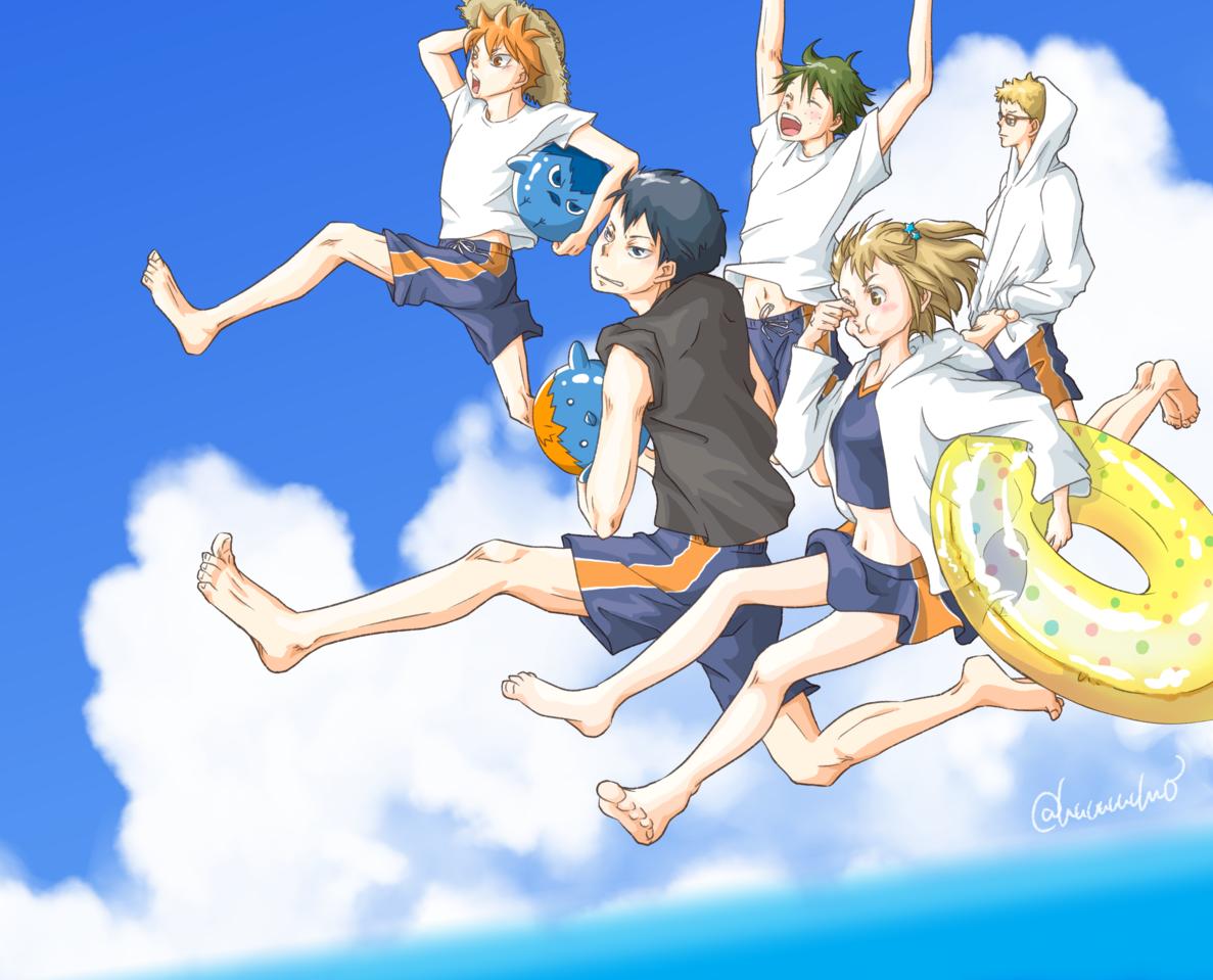 海!!!!!! Illust of como ShōyōHinata fanart TadashiYamaguchi sea TobioKageyama Haikyu!! KeiTsukishima 谷地仁花