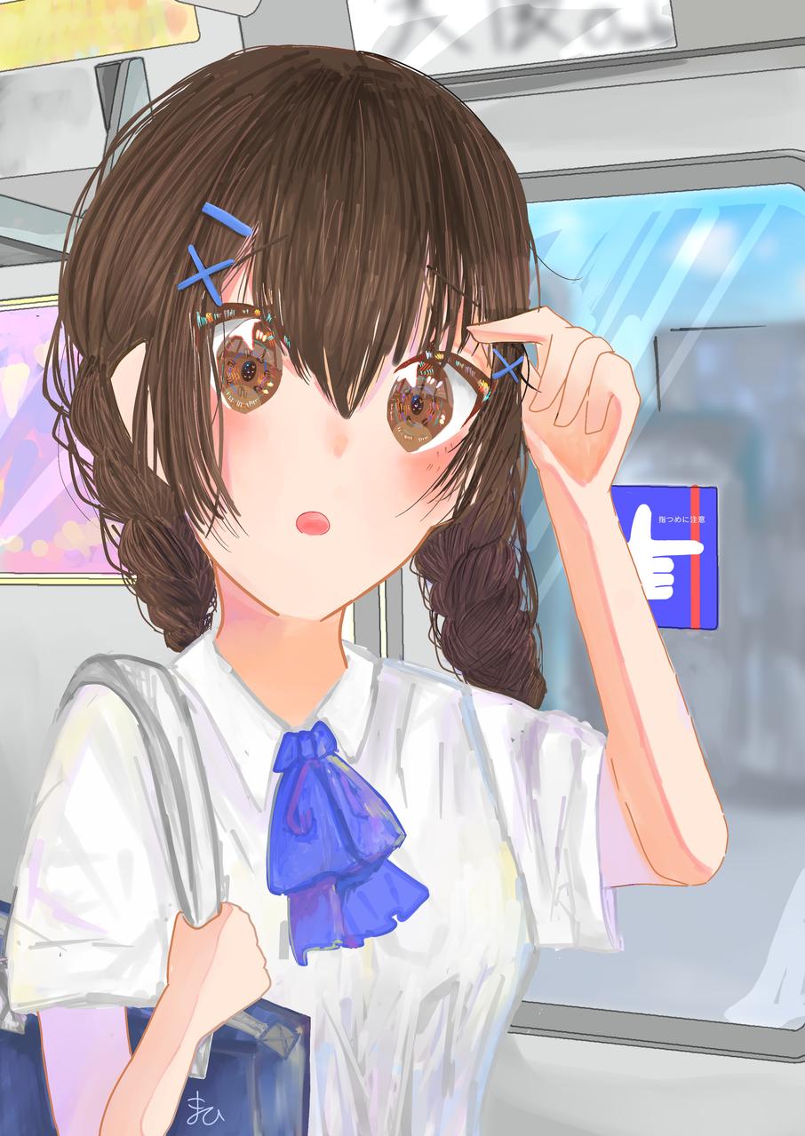 あーあ、せっかく髪の毛頑張ったのに、、、、 Illust of まひ みつあみ girl まひ 茶髪 uniform blue 丸メガネ oc
