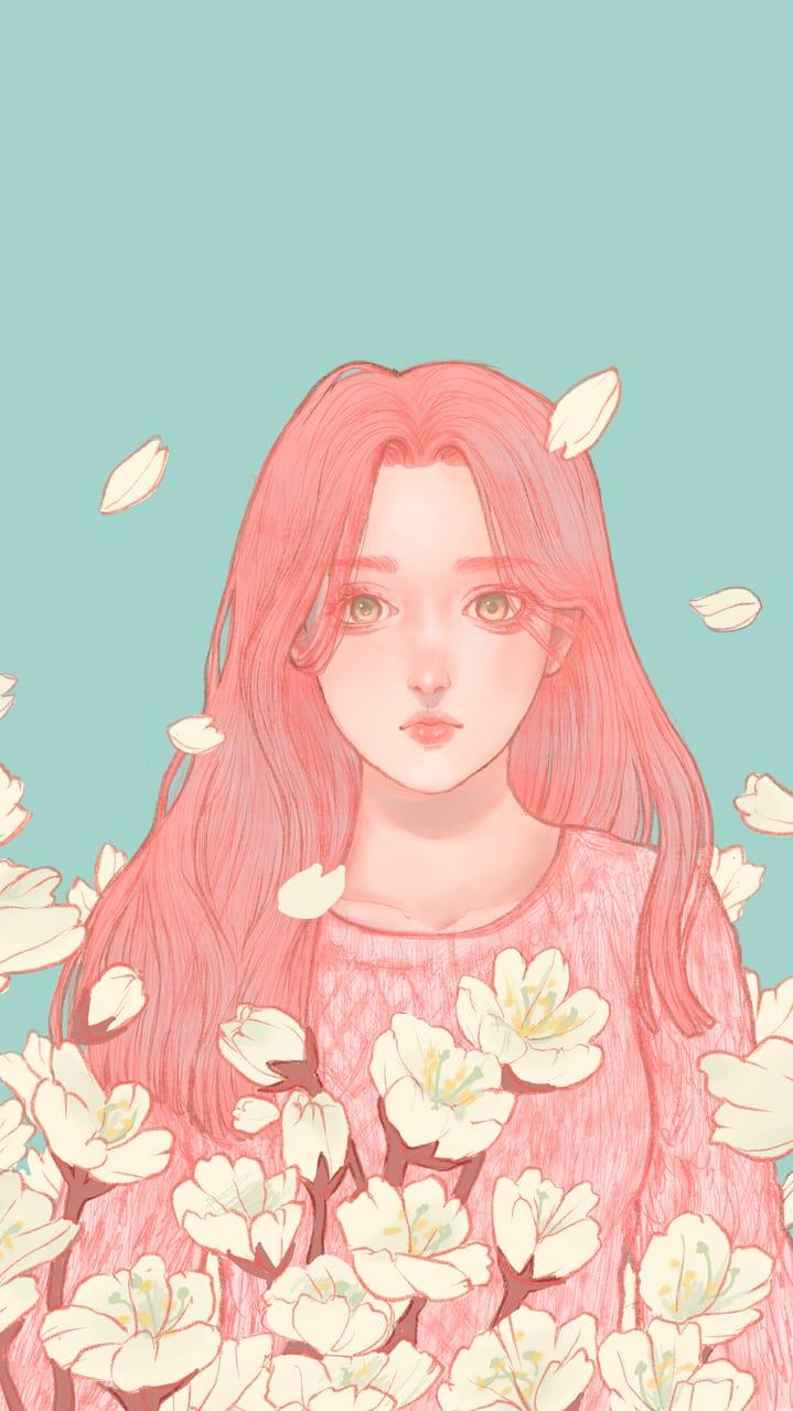 Cherry Blossom Illust of ドドドミノ ❥ 美女 blue 春日 Blossom 唯美 flower Tiffany spring