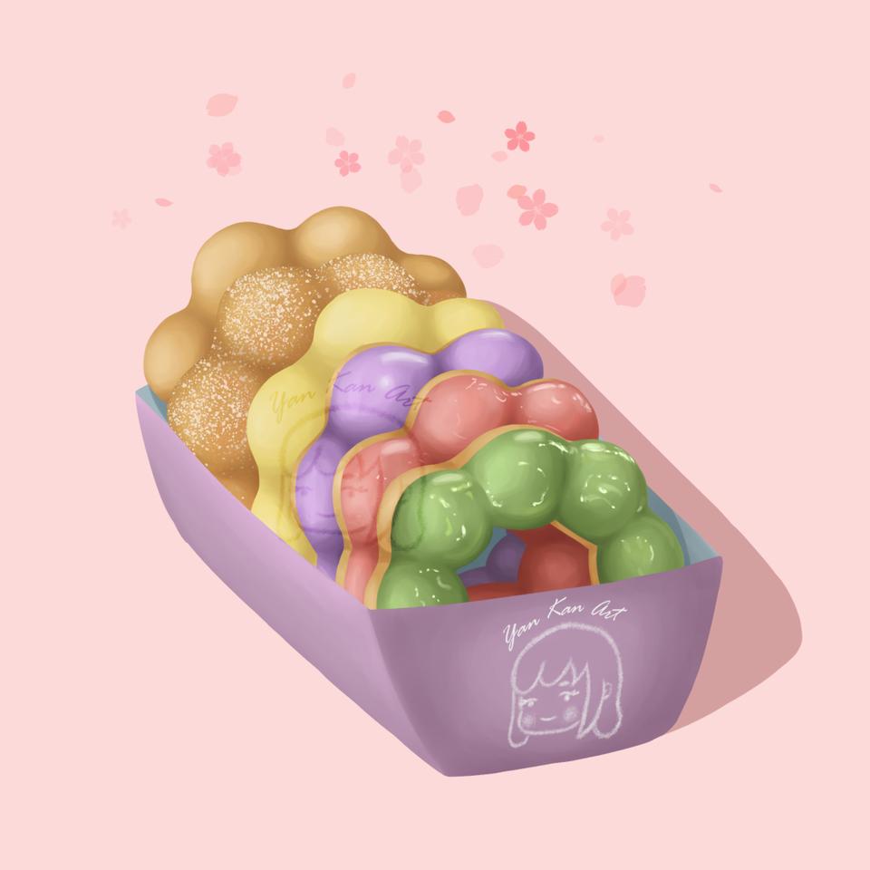 Mochi donuts Illust of Yan donut sweet snack yummy dessert mochi