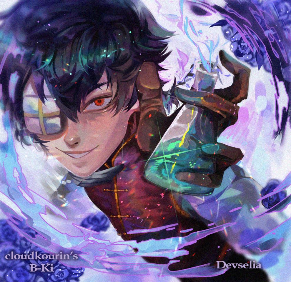 B-Ki Illust of Devselia original blue purple boy rose illustration giftart oc digital