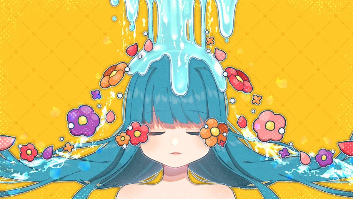 See no Flower Illust of 87*saku April2021_Flower oc girl flower kawaii original 青髪