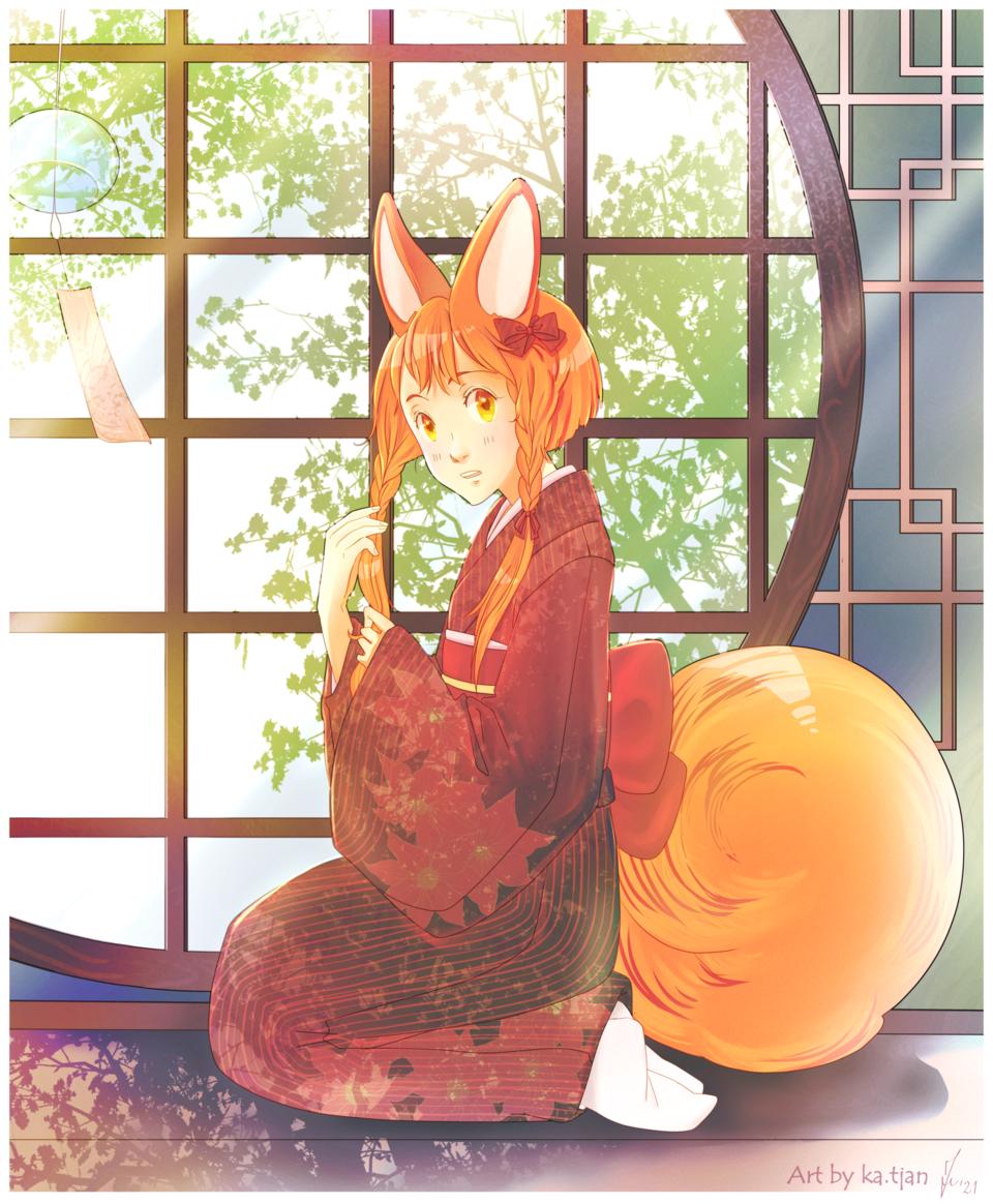 Fox Illust of ka.tjan June2021_Anthropomorphism animestyle kawaii oc demihuman fox medibang cute