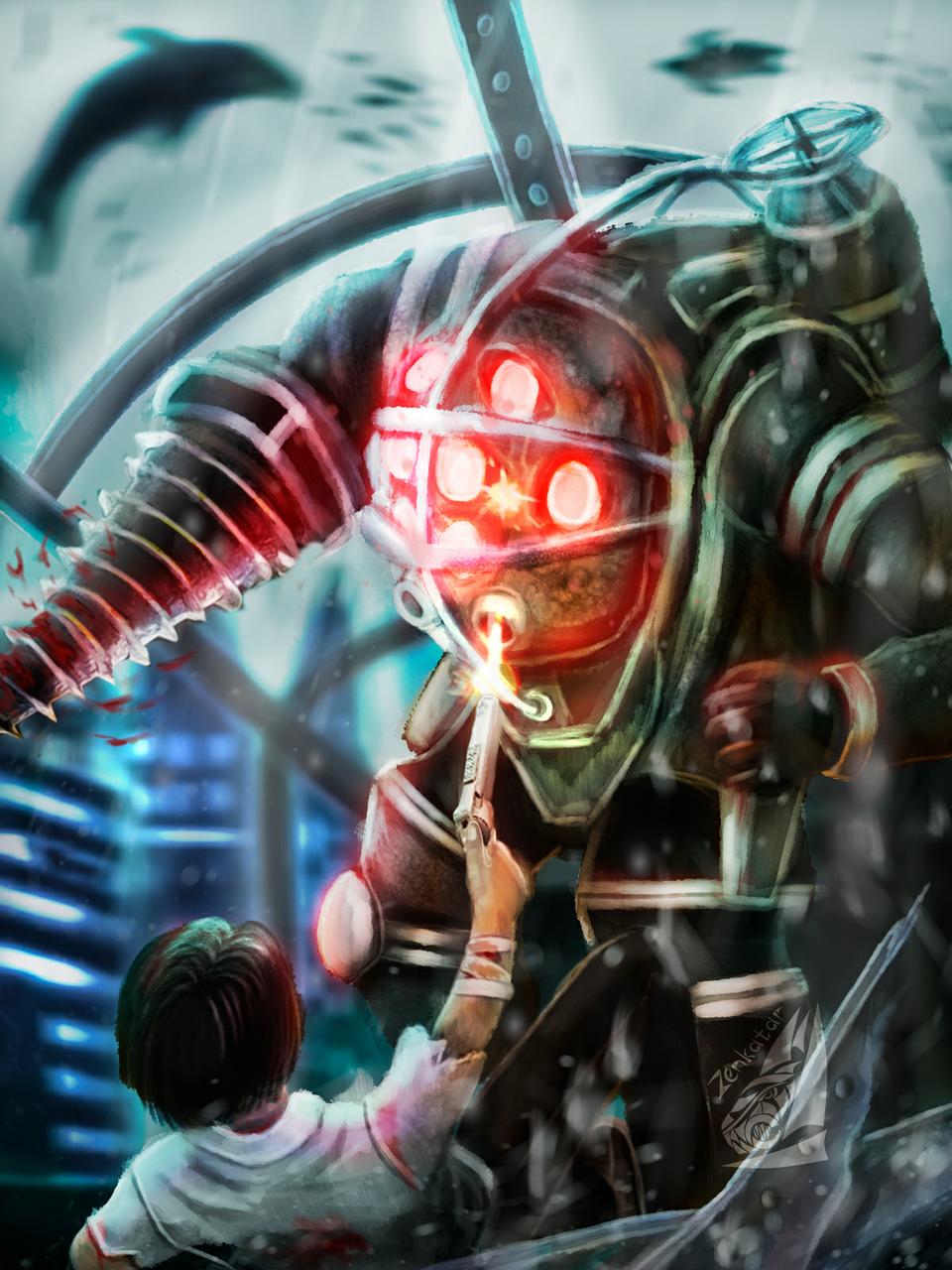 Bioshock fan art (big daddy) Illust of ℤ𝕖𝕟𝕜𝕒𝕥𝕒𝕣 medibangpaint fanart gameart bioshock steampunk speedpaint