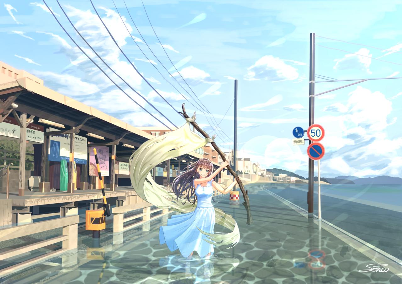 去りしひと夏の回顧 Illust of Sena original girl portrait summer background