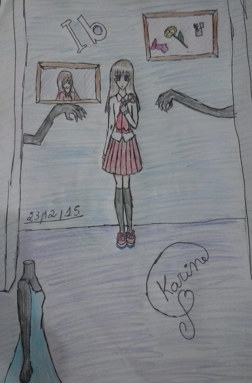 Ib Redraw (2021 vs 2015) Illust of KemyChan rpg fanart gamefanart redraw game anime イヴ Ib