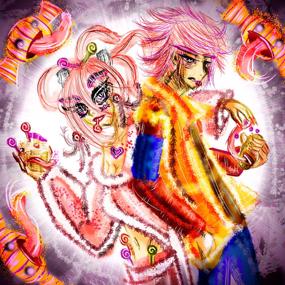 Pink Hair twins Illust of AcP pinkhair