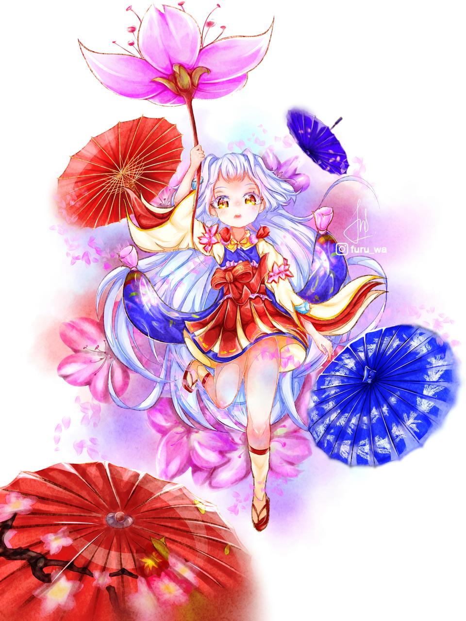 Kagura cherry blossom ( fanart ) Illust of Furuwa Kyoto_Award2020_illustration sakura iPad_raffle medibangpaint kimono kawaii anime girl Mobilelegends