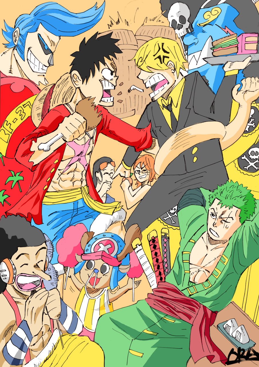 Luffy and the staw hat pirates fighting over food! Illust of That One Panda Sanji ONEPIECE RoronoaZoro Luffy