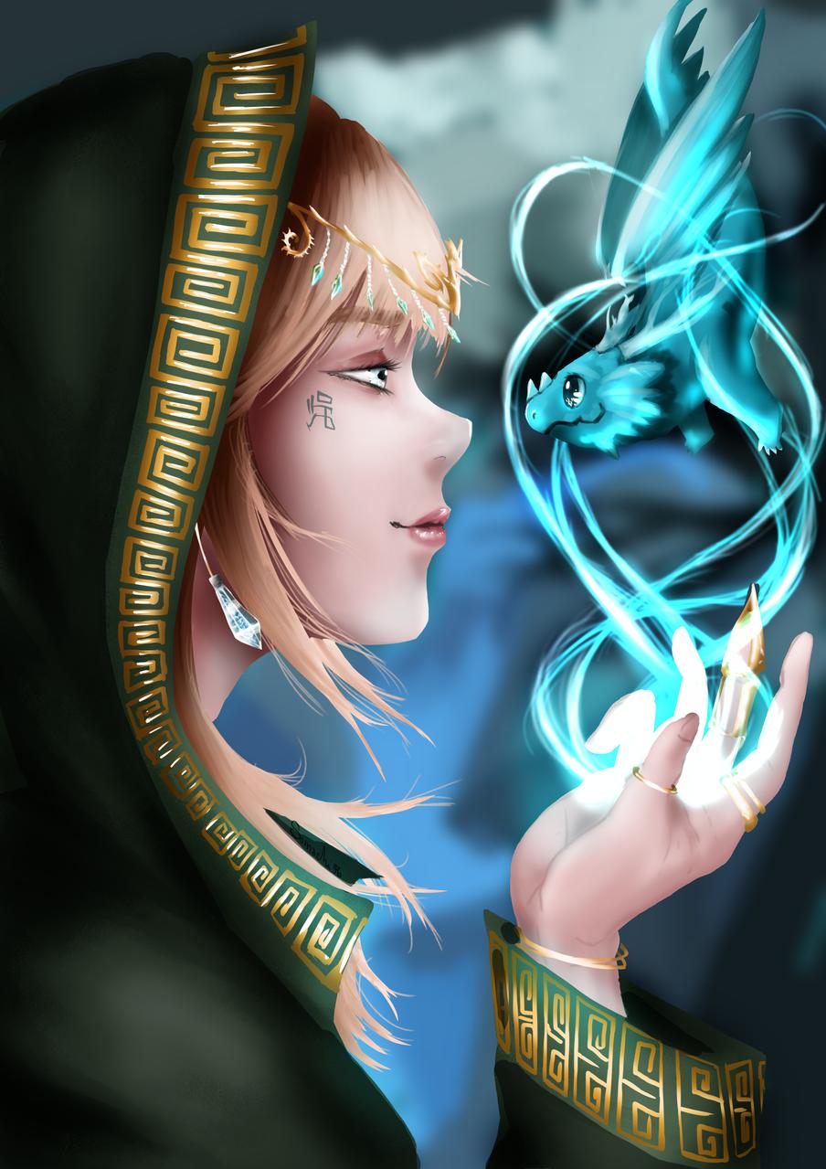 ドラゴンの調教師   Tamer of dragons Illust of Somachi MF96 February2021_Fantasy oc original drawing semirealism youkai elf anime dragon girl magic