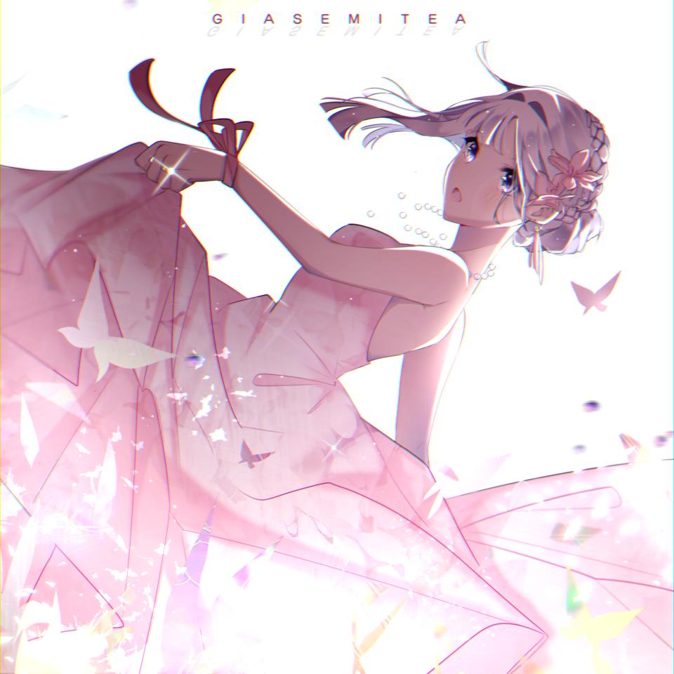 Butterflies Illust of Giasemi Tea animegirl butterfly dress