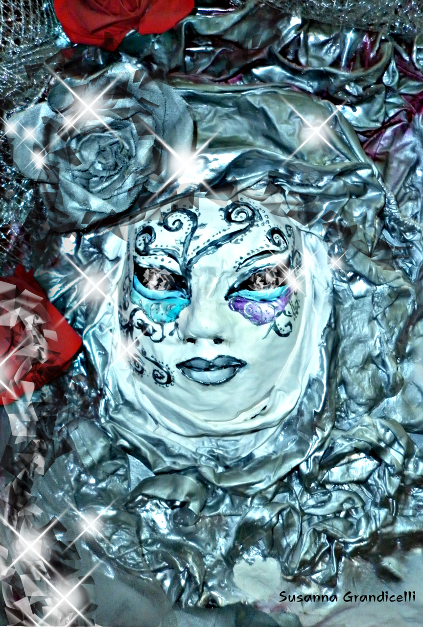 The paper mache mask Illust of Grandicelli Susanna June2021_Anthropomorphism May2021_Monochrome ponytail digitale scultura pittura cartas Gesso? acrilico