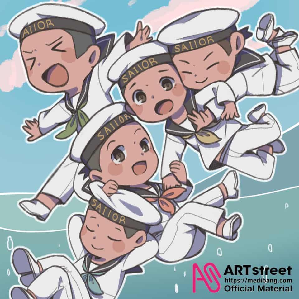 仲良し水兵組 Illust of tubasa105 tracedrawing 水兵服 sailor_uniform Trace&Draw【Official】 軍人