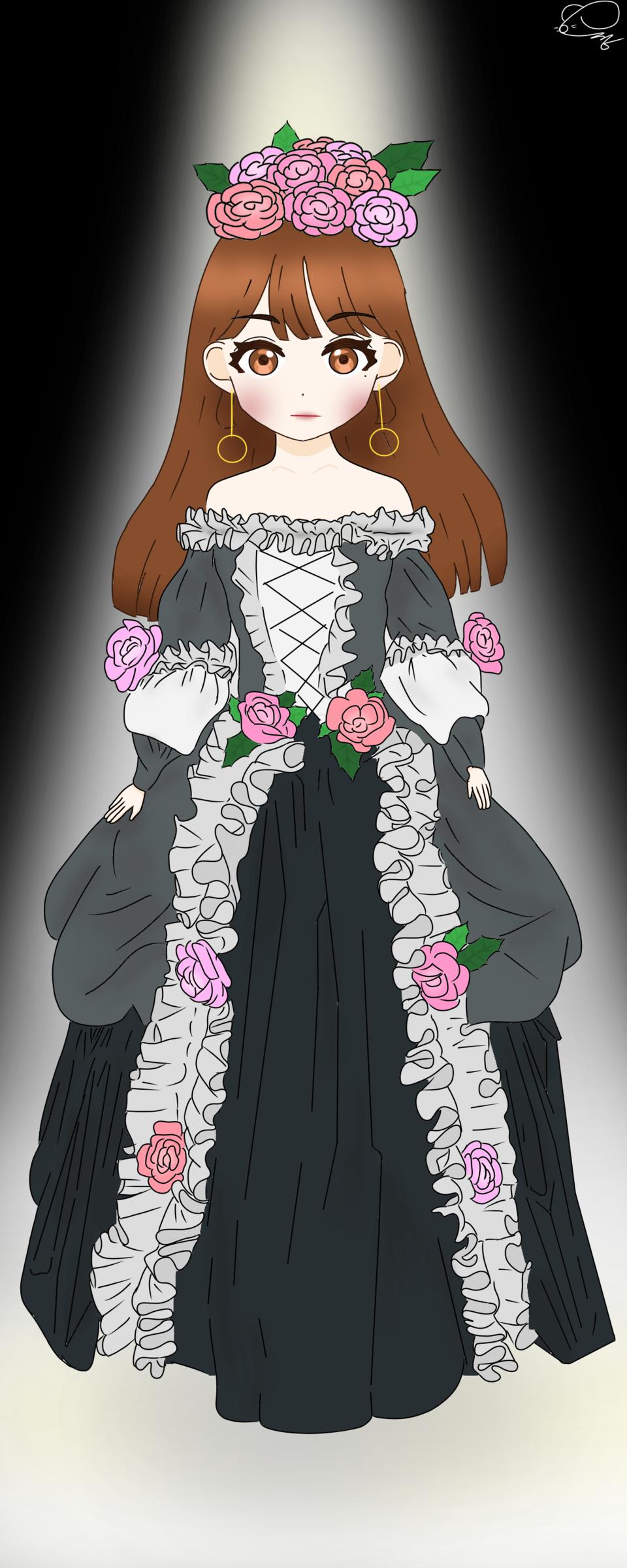 🌸🖤🤍🖤🌸 Illust of 💜셴뮤🌌 April.2020Contest:Color ARTstreet_Ranking medibangpaint white rose takoyaki dress black rococo happy light