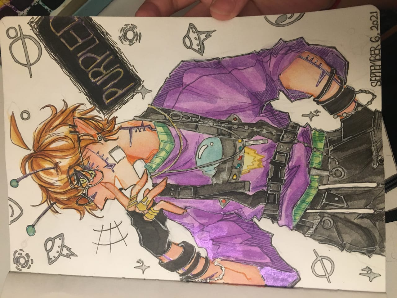 Purpled but extra cool Illust of Drawinghermit traditional watercolor Purpled Dreamsmp boy DSMP