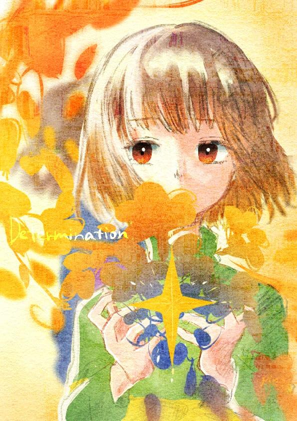 Determination Illust of Pino undertale watercolor flower CLIPSTUDIOPAINT Chara