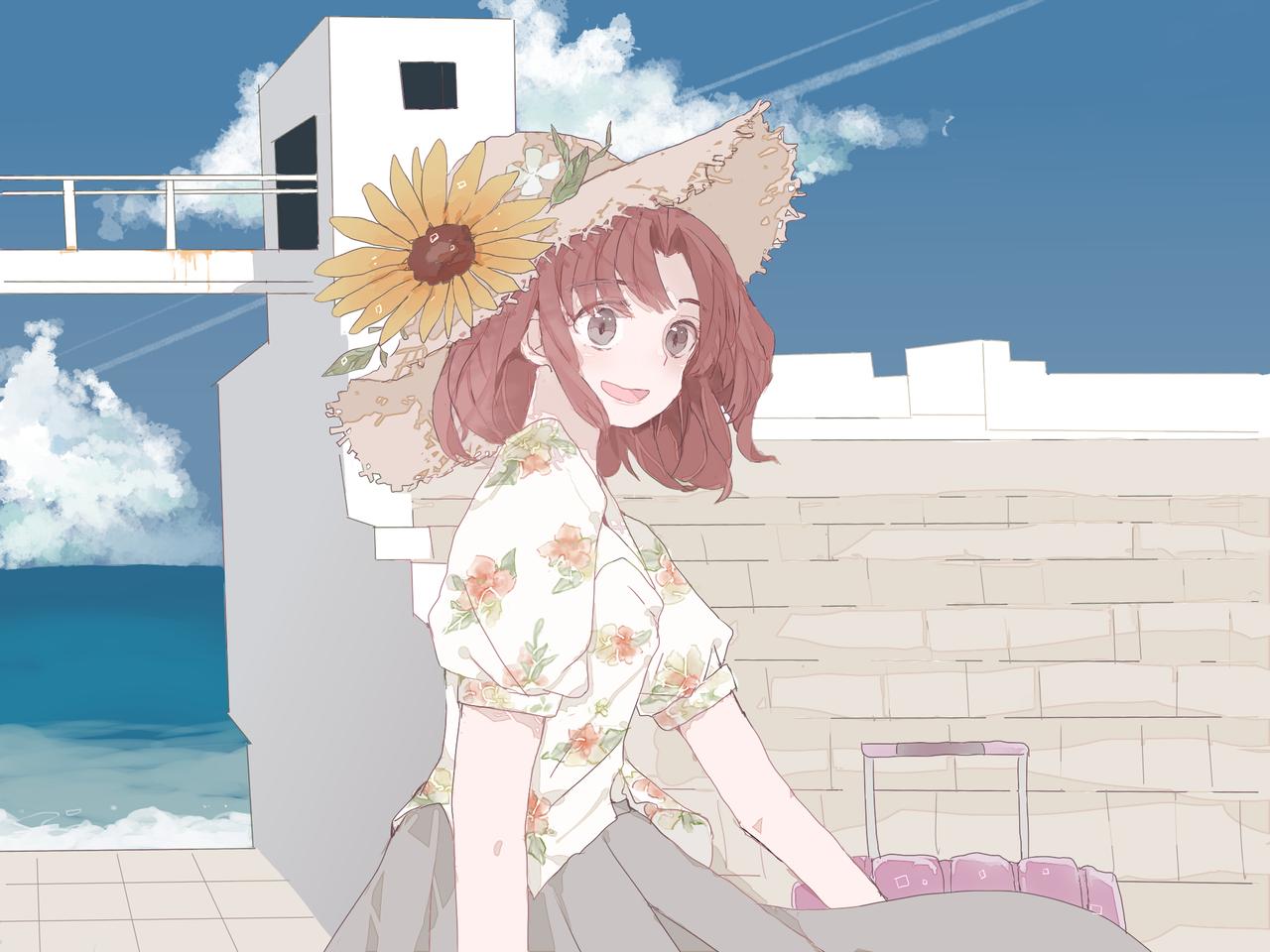 夏の新島 Illust of Nanaco original girl 新島 summer 羽伏浦海岸 sea medibangpaint ひまわり 青空