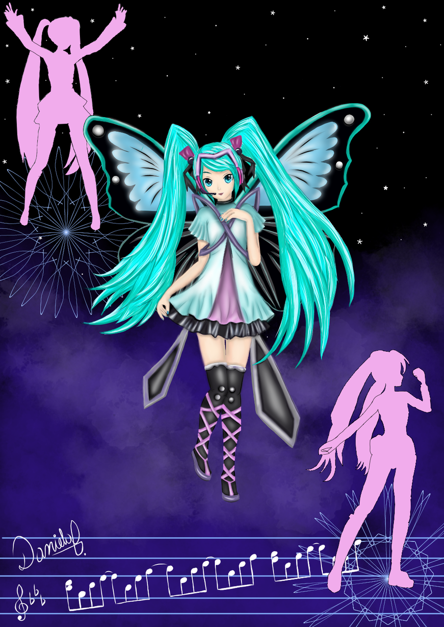 Galaxy&Miku Illust of Dany Barros galaxy VOCALOID vocaloidfanart Famous idol music headphones miku