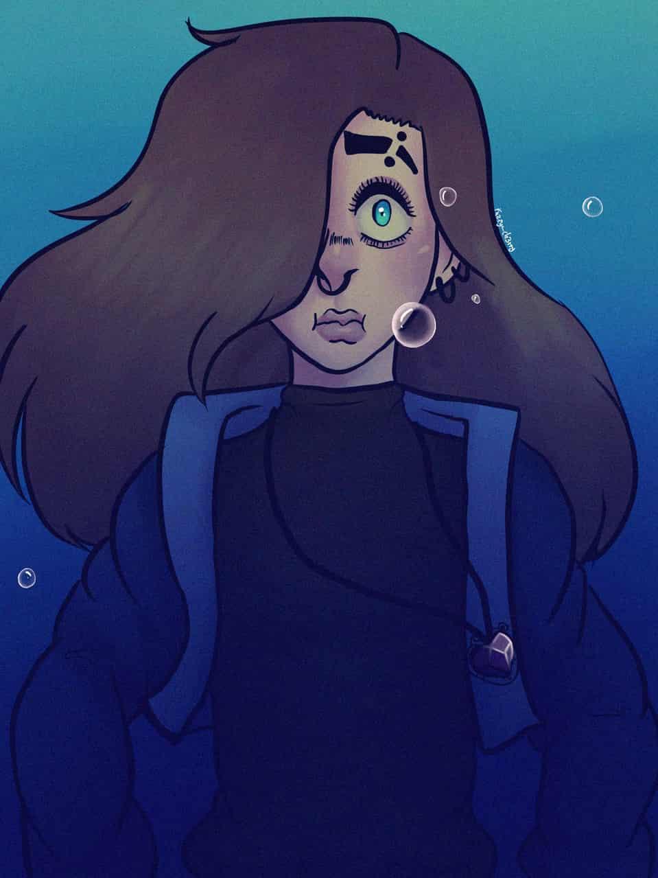 Goretober day 15: under water Illust of Unwanted_Heathen piercing boy blue Goretober eyes oc medibangpaint Fuzzy_ch3rry gore
