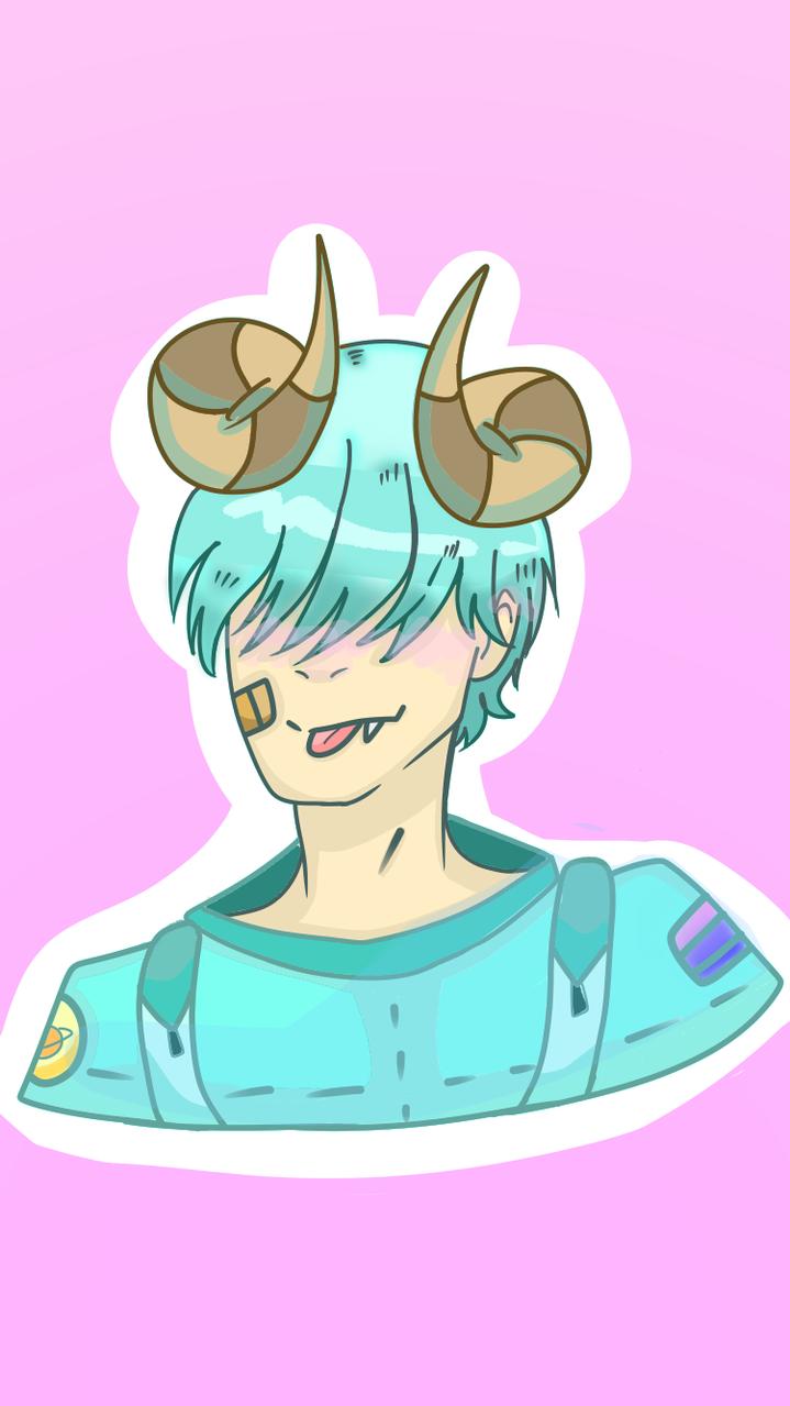 My among us character  Illust of Paper medibangpaint Horns us lazy cute Among Cyan