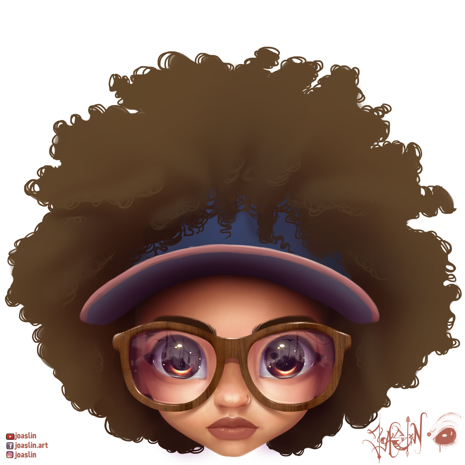 ➿➰ Curls 🤓 Illust of JoAsLiN ARTstreet_Ranking original hair girl curlyhair oc cute glasses wood eyes cap