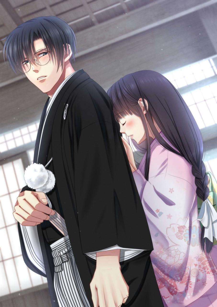 紋付袴(差分あり) Illust of 瑠璃森 しき花(元izumi) kimono 紋付袴 Japanese_style 和室 couple glasses 一次創作 差分 創作男女 original