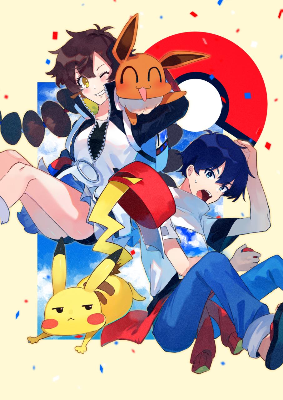 GOTCHA! Illust of 四鈴あざな medibangpaint Pikachu GOTCHA! Eevee pokemon BUMPOFCHICKEN