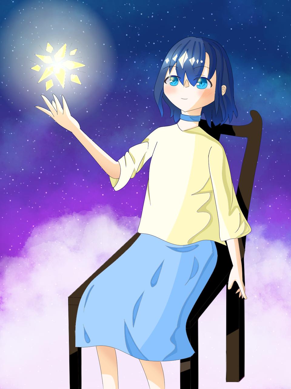 ☆ Illust of rin*#お味噌汁崇拝 夜空 girl skirt star oc starry_sky 椅子 clouds