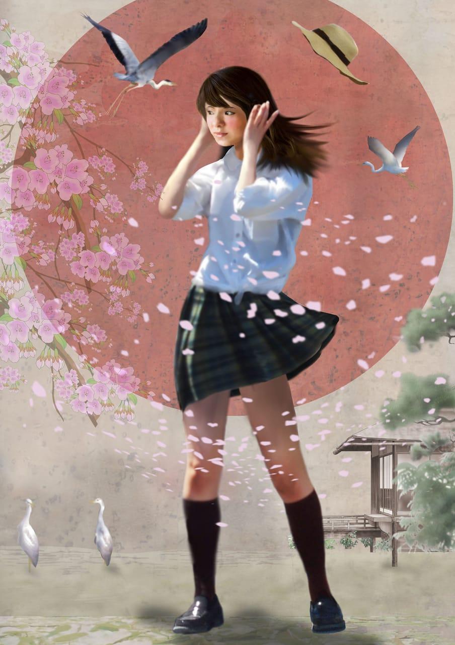 耳を澄ませば Illust of BRC Kyoto_Award2021[illustration] 女の子かわいい girl 京都 sakura 鷺 ファンタジーキャラ