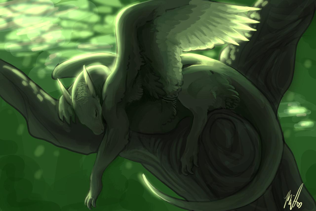 Napping Illust of Grunwald fantasy dragon cute illustration sunlight