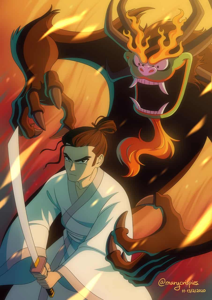 Samurai Jack & Aku Illust of marycrispies samurai fanart samuraijack cartoonnetwork cartoon aku