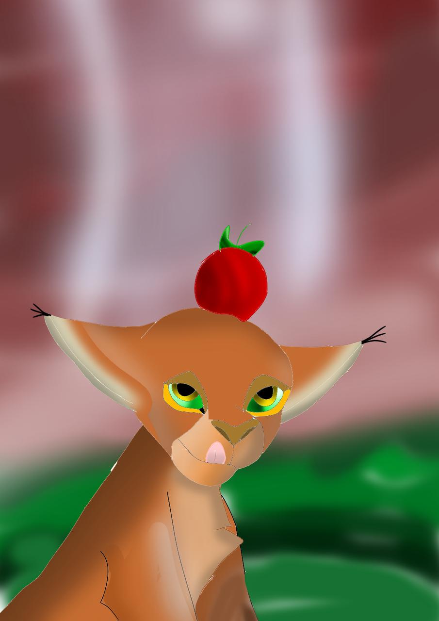 apple on his head  Illust of 🦁 SunRay 🦁 medibangpaint Caracal animal félin caracalbyturbosun