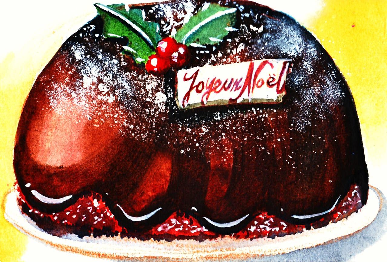 Gâteau chocolat au Joyeux Noël  Illust of おち☆よしかず(Occhiiy:オッチー☆) October2020_Contest:Food Christmas チョコレート クリスマスケーキ food 透明水彩 アナログの本気 cake