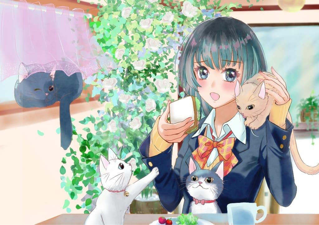 猫のいる生活 Illust of pepeami uniform 女子高生 original cat 朝ごはん